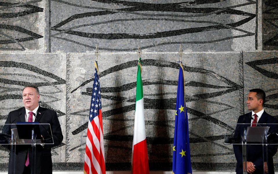 U.S. Secretary of State Mike Pompeo and Italian Foreign Minister Luigi Di Maio hold a joint news conference in Rome, Italy, September 30, 2020. REUTERS/Guglielmo Mangiapane/Pool
