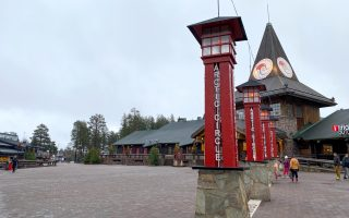 A general view shows the main square of the Santa Claus Village in the Arctic Circle near Rovaniemi, Finland October 11, 2020. Normally Santa's village in northern Finland is bustling with visitors in the months before Christmas but this year the pandemic has made them stay away, plunging the tourist attraction into crisis. Picture taken October 11, 2020.   REUTERS/Attila Cser