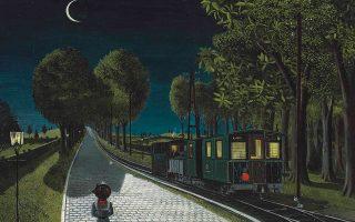 Τμήμα του πίνακα του Ντελβό «Le vicinal» που ο Βέλγος σουρεαλιστής ζωγράφος φιλοτέχνησε το 1959.