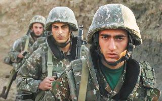 Oι εχθροπραξίες μεταξύ δυνάμεων του Αζερμπαϊτζάν και της Αρμενίας στον διαφιλονικούμενο θύλακο του Ναγκόρνο-Καραμπάχ, στον νότιο Καύκασο, συνεχίζονταν χθες, για τέταρτη κατά σειράν ημέρα. Φωτ. Armenian Defense Ministry via A.P.