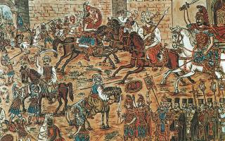 Αποφράς ημέρα. Τρίτη 29η Μαΐου 1453 (Ιουλιανό ημερολόγιο) η καρδιά της εξασθενημένης υπερχιλιετούς αυτοκρατορίας έπαψε να χτυπά. Εξεικόνιση σύγκρουσης των υπερασπιστών της Πόλης με τους Οθωμανούς στην πύλη του Ρωμανού. Εργο του λαϊκού ζωγράφου Θεόφιλου Χατζημιχαήλ.