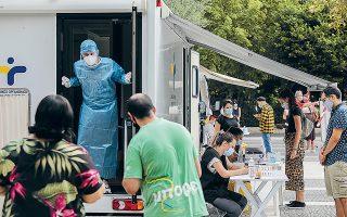 Κινητές ομάδες του ΕΟΔΥ πραγματοποίησαν χθες τεστ στην πλατεία Δαβάκη στην Καλλιθέα (φωτ. INTIME NEWS).
