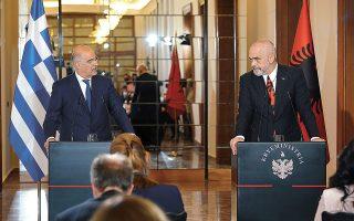 Ο κ. Ν. Δένδιας, μετά τη συνάντηση με τον πρωθυπουργό της Αλβανίας Εντι Ράμα, έκανε λόγο για πρόοδο της αλβανικής πλευράς στα θέματα που αφορούν την ελληνική εθνική μειονότητα (φωτ. ΥΠΕΞ / Χάρης Ακριβιάδης).