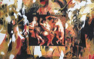 «Ρούμπενς για πάντα», 2020, χρωματιστά μολύβια, 23x28 εκ., έργο (λεπτομέρεια) του Αλέξανδρου Ισαρη. Από την έκθεση «Τα έργα του φθινοπώρου 2». Εως 7 Νοεμβρίου. Gallery 7, Σόλωνος 20 και Βουκουρεστίου.