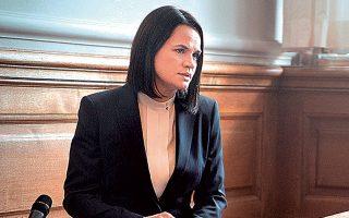 Η ηγέτις της λευκορωσικής αντιπολίτευσης, Σβετλάνα Τιχανόφσκαγια (φωτ. EPA).