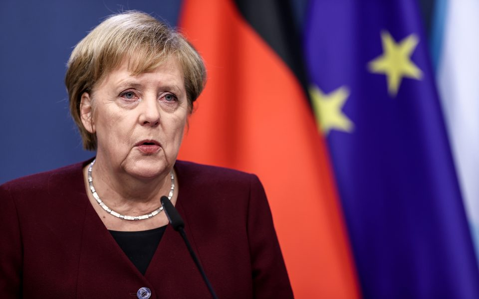 Germany's Chancellor Angela Merkel speaks at a post-EU summit news conference at the European Council building in Brussels, Belgium October 16, 2020. Kenzo Tribouillard/Pool via REUTERS