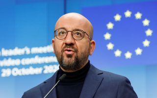 European Council President Charles Michel speaks during a news conference following a virtual EU/Canada Summit in Brussels, Belgium October 29, 2020. Olivier Hoslet/Pool via REUTERS