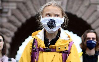 Η Γκρέτα Τούνμπεργκ διαδήλωσε χθες μπροστά από το Κοινοβούλιο της Σουηδίας (φωτ. EPA).