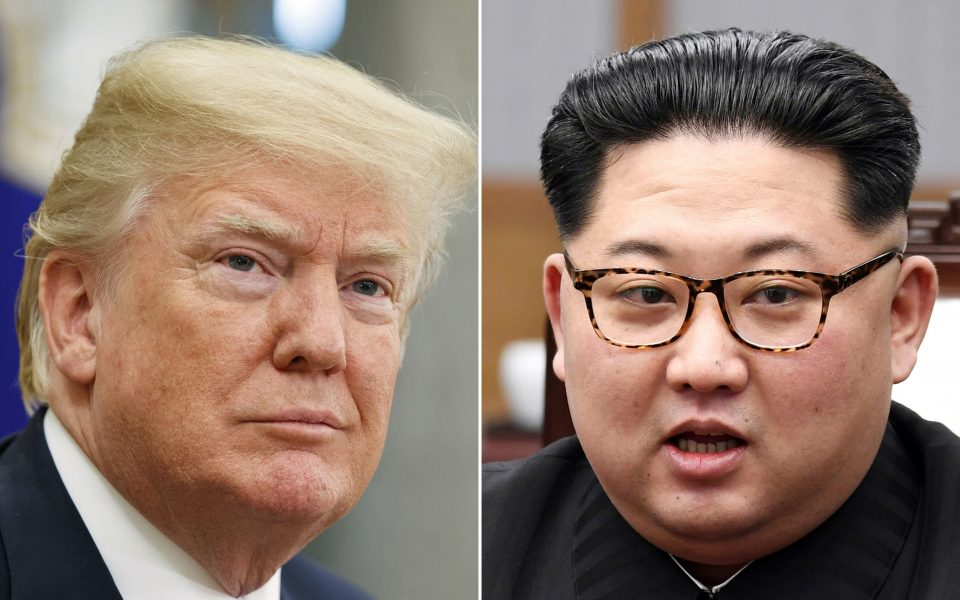 FILE - This combination of file photos, show U.S. President Donald Trump, left, in the Oval Office of the White House in Washington on May 16, 2018, and North Korean leader Kim Jong Un in a meeting with South Korean leader Moon Jae-in in Panmunjom, South Korea, on April 27, 2018. Kim on Saturday, Oct. 3, 2020 sent a message of sympathy to Trump and his wife Melania, wishing they would recover from the COVID-19 illness, state media reported. (AP Photo/Evan Vucci, Korea Summit Press Pool via AP, File)