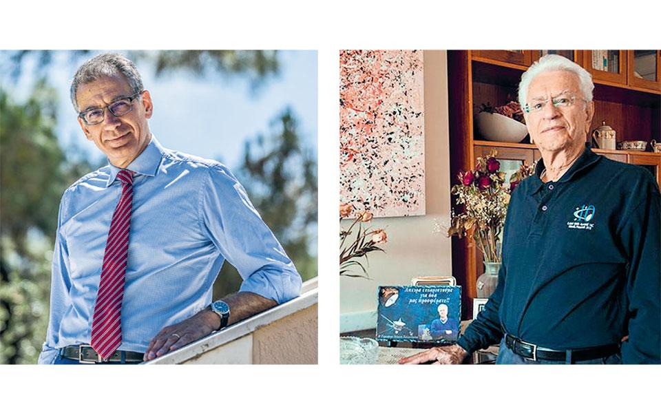 Ο πρόεδρος του ΕΙΠ Νίκος Α. Κούκης ανέλαβε τα καθήκοντά του τον Μάιο (αριστερά). Ο πρώτος προσκεκλημένος των μηνιαίων διαδικτυακών συζητήσεων του ΕΙΠ, ακαδημαϊκός Σταμάτης Κριμιζής (δεξιά).