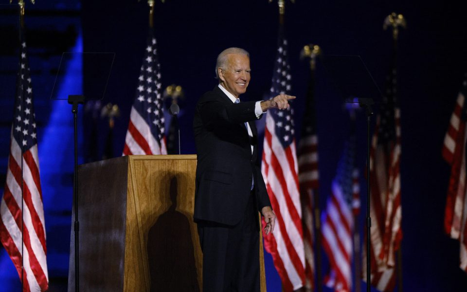 Democratic 2020 U.S. presidential nominee Joe Biden takes the stage at his election rally, after the news media announced that Biden has won the 2020 U.S. presidential election over President Donald Trump, in Wilmington, Delaware, U.S., November 7, 2020. REUTERS/Jim Bourg