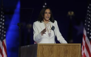 Democratic 2020 U.S. vice presidential nominee Kamala Harris speaks at their election rally, after the news media announced that Democratic 2020 U.S. presidential nominee Joe Biden has won the 2020 U.S. presidential election over President Donald Trump, in Wilmington, Delaware, U.S., November 7, 2020. REUTERS/Jim Bourg