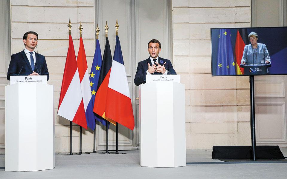 Η χθεσινή τηλεδιάσκεψη ήταν πρωτοβουλία του Γάλλου προέδρου Εμανουέλ Μακρόν και του καγκελάριου της Αυστρίας Σεμπάστιαν Κουρτς (φωτ. A.P.).