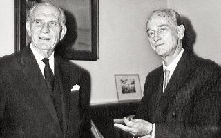Γεώργιος Παπανδρέου και Παναγιώτης Κανελλόπουλος τη δεκαετία του '60.