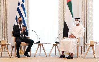 Ο πρωθυπουργός Κυρ. Μητσοτάκης και ο διάδοχος του θρόνου των ΗΑΕ, σεΐχης Μοχάμεντ μπιν Ζαγέντ αλ Ναχιάν κατά τη χθεσινή συνάντησή τους. Στην κοινή διακήρυξη, οι δύο κυβερνήσεις καλούν την Τουρκία να σεβαστεί το διεθνές δίκαιο και να παύσει άμεσα όλες τις παράνομες και προκλητικές ενέργειές της (φωτ. ΑΠΕ-ΜΠΕ / ΓΡΑΦΕΙΟ ΤΥΠΟΥ ΠΡΩΘΥΠΟΥΡΓΟΥ / ΔΗΜΗΤΡΗΣ ΠΑΠΑΜΗΤΣΟΣ).