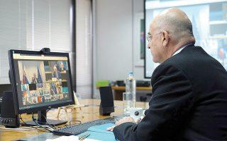 Ο Νίκος Δένδιας, κατά τη χθεσινή τηλεδιάσκεψη, αναφέρθηκε διεξοδικά στις συνεχιζόμενες παράνομες τουρκικές ενέργειες στην Ανατολική Μεσόγειο και στα Βαρώσια (φωτ. ΥΠΕΞ / Χαρης Ακριβιαδης).