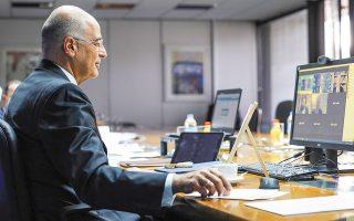 «Η Τουρκία κλείνει μόνη της το παράθυρο ευκαιρίας που είχε ανοίξει με τη δική μας θετική στάση και τις αποφάσεις του Ευρωπαϊκού Συμβουλίου», υπογράμμισε χθες ο υπουργός Εξωτερικών Νίκος Δένδιας (φωτ. ΑΠΕ-ΜΠΕ/ΓΡΑΦΕΙΟ ΤΥΠΟΥ ΥΠΕΞ/ΧΑΡΗΣ ΑΚΡΙΒΙΑΔΗΣ).