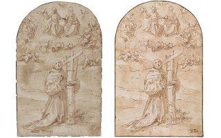 Αριστερά: Το σχέδιο όπως τυπώθηκε στον κατάλογο της έκθεσης «Στα άδυτα της Εθνικής Πινακοθήκης. Αγνωστοι θησαυροί από τις συλλογές της», 20/10/2011 - 8/1/2012, σελ. 337. Δεξιά: Το σχέδιο όπως βρέθηκε μετά την κλοπή στη Φλωρεντία, με τη σφραγίδα και την υπογραφή.