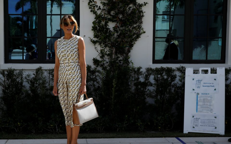 U.S. first lady Melania Trump leaves after casting her vote during the 2020 presidential election at Morton and Barbara Mandel Recreation Center in Palm Beach, Florida, U.S., November 3, 2020. REUTERS/Marco Bello