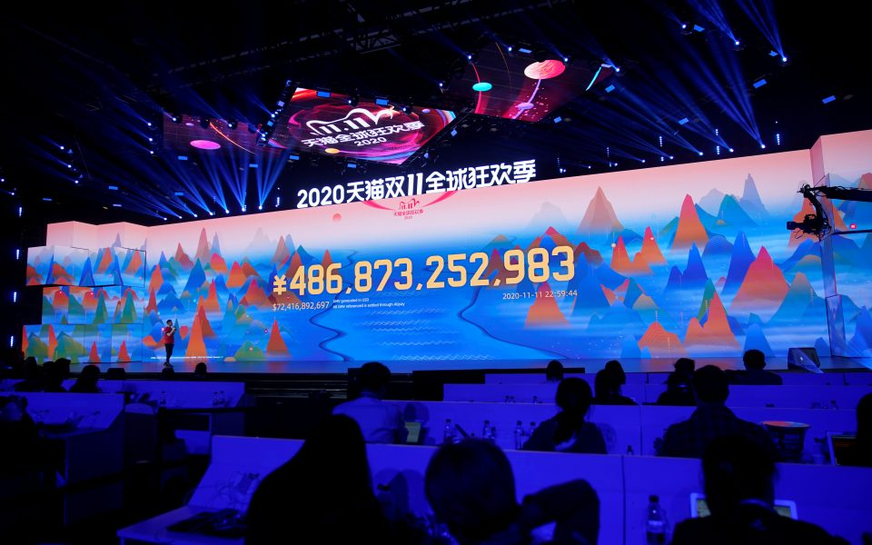 A screen shows the value of goods being transacted during Alibaba Group's Singles' Day global shopping festival at a media center in Hangzhou, Zhejiang province, China November 11, 2020. REUTERS/Aly Song