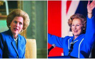 Η αναμέτρηση δύο Θάτσερ: αριστερά, η Γκίλιαν Αντερσον στην τέταρτη σεζόν της τηλεοπτικής σειράς «Τhe Crown», δεξιά, η Μέριλ Στριπ στην οσκαρική ταινία «Τhe Iron Lady».