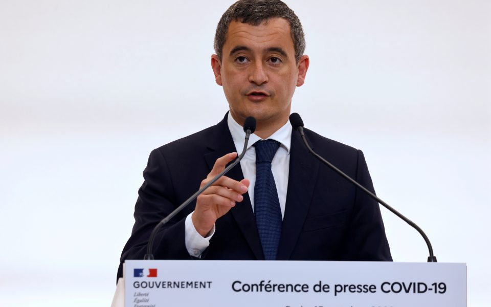 FILE PHOTO: French Interior Minister Gerald Darmanin speaks in Paris, France, October 15, 2020.  Ludovic Marin/Pool via REUTERS/File Photo