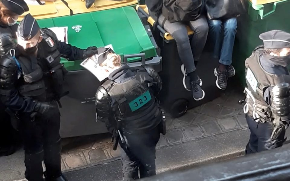 Police officers are seen as students protest, amid the coronavirus disease (COVID-19) outbreak, in Paris, France November 3, 2020, in this still image taken from a social media video.  TWITTER/ @Ferro18360494/via REUTERS THIS IMAGE HAS BEEN SUPPLIED BY A THIRD PARTY. MANDATORY CREDIT. NO RESALES. NO ARCHIVES.