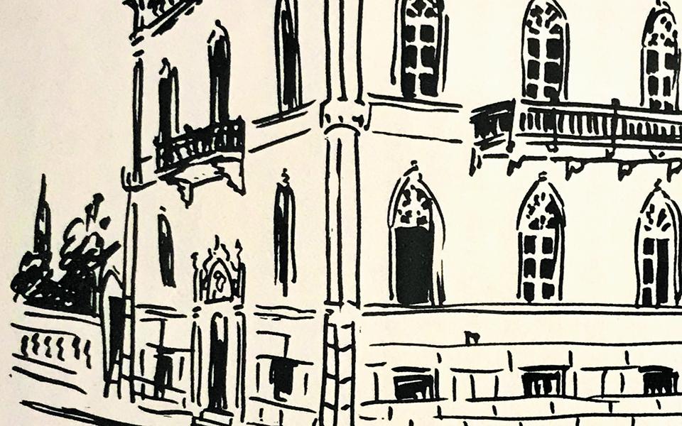 Οικία Σαριπόλου (λεπτ.), Πατησίων και Χαλκοκονδύλη. Σκίτσο της Ελλης Σολομωνίδη-Μπαλάνου.