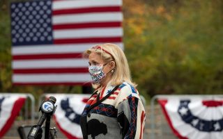 Michigan Representative Debbie Dingell speaks before a campaign event featuring last-minute arguments from Jill Biden in Westland, Michigan, U.S., October 29, 2020. REUTERS/Emily Elconin