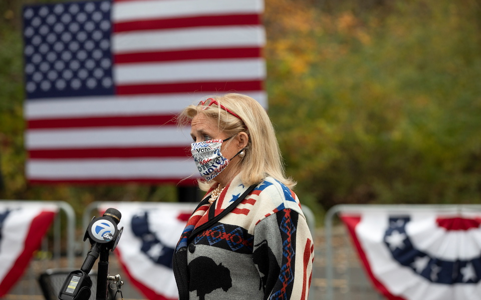 Michigan Representative Debbie Dingell speaks before a campaign event featuring last-minute arguments from Jill Biden in Westland, Michigan, U.S., October 29, 2020. REUTERS/Emily Elconin