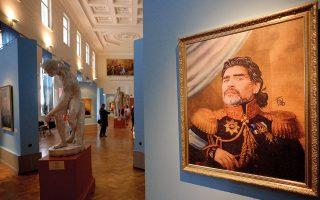 Πίνακας του Ιταλού ζωγράφου Φαμπρίτσιο Μπιριμπέλι σε έκθεση με τίτλο «Like the Gods», που φιλοξενήθηκε στη Ρωσική Ακαδημία Τέχνης κατά τη διάρκεια του Μουντιάλ του 2018.  ©OLGA MALTSEVA / AFP/visualhellas.gr