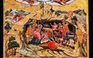 «Η Γέννηση του Χριστού». Το έργο έχει φιλοτεχνηθεί σύμφωνα με το ύφος του Χανιώτη ζωγράφου Θεόδωρου Πουλάκη (περ. 1620-1692). Δεύτερο μισό του 18ου αιώνα, δωρεά Αιμίλιου Βελιμέζη.  Φωτ. ΣΥΛΛΟΓΗ ΜΟΥΣΕΙΟΥ ΜΠΕΝΑΚΗ
