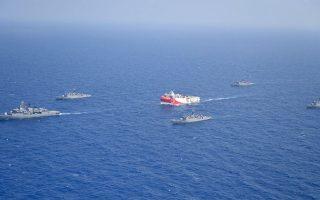 """Στο προσχέδιο συμπερασμάτων αναφέρεται ότι «το Ευρωπαϊκό Συμβούλιο σημείωσε την απόσυρση του σκάφoυς """"Ορούτς Ρέις"""" εκ μέρους της Τουρκίας και προσδοκά ότι αυτή θα είναι μια κίνηση διαρκείας που θα επιτρέψει την πρόωρη επανέναρξη των διερευνητικών συνομιλιών μεταξύ της Ελλάδας και της Τουρκίας» (φωτ. Turkish Defense Ministry via AP, Pool)."""