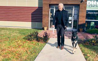 Ο Τζο Μπάιντεν είχε ένα ατύχημα, παίζοντας με τον σκύλο του. Εσπασε το πόδι του και τις επόμενες εβδομάδες αναμένεται να κυκλοφορεί με μπότα (φωτογραφία αρχείου του νικητή των εκλογών με το συμπαθέστατο τετράποδο). Φωτ. A.P.