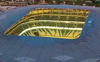 Το Education City Stadium στο Κατάρ και τα υπόλοιπα στάδια περιμένουν υπομονετικά τους επισκέπτες, οι οποίοι θα βρεθούν εκεί το διάστημα από τις 21 Νοεμβρίου έως τις 18 Δεκεμβρίου του 2022. (Φωτ. EPA)