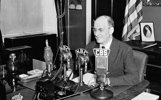 U.S. Secretary of Treasury Henry Morgenthau is shown during his nationwide radio address in Washington, D.C., July 1, 1936.  Morgenthau placed the treasury's deficit for the fiscal year ending June 30 at $4,400,000,000, largest such figure in the peacetime history of the nation.  (AP Photo)