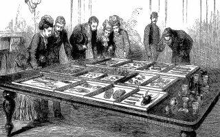 Η πρώτη έκθεση του ταφικού κύκλου Α Μυκηνών στο Πολυτεχνείο, το 1877.