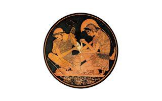 Ο Αχιλλέας φροντίζει το τραύμα του Πατρόκλου, ο οποίος έχει τραυματιστεί στο αριστερό μπράτσο. Η «Επινόηση της Ιατρικής» του Ρόμπιν Λέιν Φοξ εκκινεί από την άσκηση της ιατρικής στα ομηρικά έπη για να φτάσει στον Ιπποκράτη και στις αφηγήσεις του Θουκυδίδη.