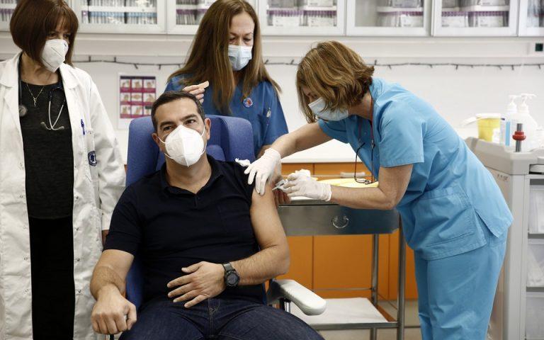 Κριτική Τσίπρα περί επικοινωνιακού σόου με τα εμβόλια