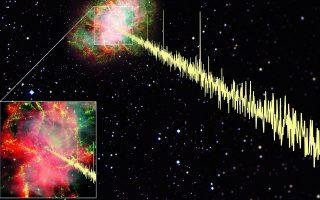 Ηλεκτρομαγνητική ακτινοβολία από έναν πάλσαρ στο νεφέλωμα του Καρκίνου.