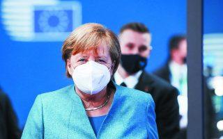 «Πολλά από αυτά που είχαν προαναγγελθεί δεν θα εφαρμοστούν», δήλωσε η Γερμανίδα καγκελάριος στην προχθεσινή Σύνοδο Κορυφής.  Φωτ. EPA / YVES HERMAN