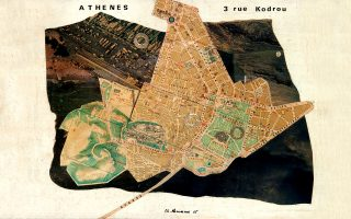 Χρύσα Ρωμανού, «Athenes», 1965, κολάζ σε μουσαμά.