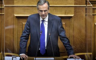 Για τη συμφωνία των Πρεσπών και τι θα πράξει ο ίδιος όταν τα μνημόνια συνεργασίας με τη Βόρεια Μακεδονία θα έρθουν στη Βουλή, ο κ. Σαμαράς τονίζει: «Ούτε το πρόβλημα λύθηκε ούτε κανένα καλό είδε η Ελλάδα. Μόνο μια αφόρητη εθνική ζημιά, δίνοντας όνομα, ταυτότητα, γλώσσα! Τι περιμένετε να κάνω;». Φωτ. INTIME NEWS
