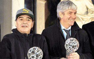 Οι δύο πιο ηχηρές απώλειες του παγκοσμίου ποδοσφαίρου για το 2020: Ντιέγκο Μαραντόνα και Πάολο Ρόσι. (Φωτ. REUTERS)
