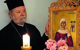«Η εικόνα αγιογραφήθηκε σύμφωνα με την ορθόδοξη τεχνοτροπία», λέει στην «Κ» ο ελληνορθόδοξος ιερέας Απόστολος Μαλαμούσης. Φωτ. BAVARIA.GR