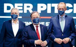 Οι τρεις υποψήφιοι για την αρχηγία του CDU είναι ο επικεφαλής της επιτροπής εξωτερικών υποθέσεων της Βουλής Νόρμπερτ Ρέτγκεν, ο πρωθυπουργός της Βόρειας Ρηνανίας-Βεστφαλίας Αρμιν Λάσετ και ο εκατομμυριούχος δικηγόρος Φρίντριχ Μερτς (φωτ. A.P.).