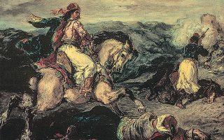 «Eπεισόδιο του Eλληνικού Aγώνα». Eργο του Eυγένιου Nτελακρουά. Η Επανάσταση του 1821 προκάλεσε κύμα φιλελληνισμού στις Ηνωμένες Πολιτείες, ενώ ως πρότυπο της διακήρυξης της Ελληνικής Ανεξαρτησίας ήταν η διακήρυξη της Αμερικανικής Ανεξαρτησίας που υπεγράφη το 1776.