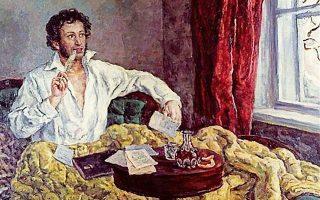 Γενναιογράφος, προκάλεσε την οργή του τσάρου γλιτώνοντας από την καρμανιόλα της Σιβηρίας μετά την παρέμβαση υψηλά ιστάμενων γνωστών του με διαύλους στην ανοιχτόμυαλη καλόκαρδη τσαρίνα, αλλά και με μία διπλωματική κίνηση ματ του Ιωάννη Καποδίστρια. Δίχως αυτούς ο Αλεξάντρ Σεργκέγεβιτς Πούσκιν (1799-1837) δεν θα αποθεωνόταν από τον Γκόγκολ σαν «η φλόγα που έπεσε από τα ουράνια φωτίζοντάς μας» και από τον Γκόρκι ως «η αρχή κάθε αρχής για εμάς τους Ρώσους». Κι ένας φίλος του, γεννημένος πρίγκιπας, υποκλινόμενος στο μεγαλείο του είχε αστειευθεί με το συγγνωστό άλλοθι της ζήλιας, «να τον κλείσουμε σε φρενοκομείο, τι θείους διαβόλους κουβαλάει τούτος μέσα του». Ο πικρός φιλέλληνας Πούσκιν, λάτρης του Βύρωνα, που ύφανε τον «Θρίαμβο του Βάκχου», έπεσε ηρωικά, ρομαντικά, σε μονομαχία. Υπερασπίστηκε την τιμή της συζύγου του απέναντι σε έναν  επαγγελματία του θανάτου, αξιωματικό του ιππικού, γαλλικής καταγωγής, κατά συρροήν άθλιο, που πότιζε τα διψασμένα για σκάνδαλα σαλόνια της Αγίας Πετρούπολης με  κομπασμούς ότι κατά βάθος αυτόν αγαπούσε η Ναταλία Πούσκινα. Επάνω, εξεικόνιση του ποιητή σε πυρετώδη στιγμή δημιουργικής περισυλλογής.