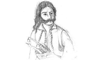 Ο Κυρ. Μαυρομιχάλης σε σχέδιο της Φωτεινής Στεφανίδη (φωτ. ΕΚΔΟΣΕΙΣ ΘΙΝΕΣ).