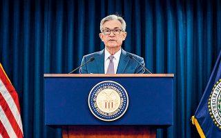 Το αρνητικό κλίμα δεν μπόρεσε να ανατραπεί από τις δηλώσεις του επικεφαλής της Ομοσπονδιακής Τράπεζας των ΗΠΑ, Fed, Τζερόμ Πάουελ, στη συνέντευξη Τύπου που ακολούθησε μετά τη λήξη της διήμερης συνεδρίασης νομισματικής πολιτικής, την Τετάρτη, ο οποίος έκανε σαφές για ακόμη μία φορά ότι οποιαδήποτε συζήτηση για αλλαγή του προγράμματος ποσοτικής χαλάρωσης είναι προς το παρόν πρόωρη (φωτ. Reuters).